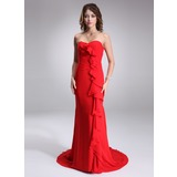 Sheath Sweetheart Court Train Chiffon Evening Dress With Ruffle (017022525)