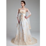 Empire Sweetheart Chapel Train Satin Tulle Wedding Dress With Lace Crystal Brooch (002011662)