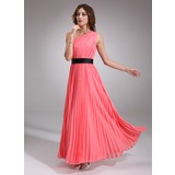 A-Line/Princess One-Shoulder Floor-Length Chiffon Satin Prom Dress With Ruffle Sash (018004787)
