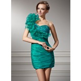 Sheath One-Shoulder Short/Mini Organza Charmeuse Homecoming Dress With Ruffle Beading (022008939)