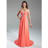 Empire Sweetheart Watteau Train Chiffon Prom Dress With Ruffle Beading (018015322)