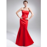 Trumpet/Mermaid Sweetheart Floor-Length Satin Evening Dress With Crystal Brooch