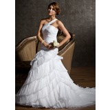 Mermaid One-Shoulder Court Train Organza Satin Wedding Dress With Ruffle (002011681)