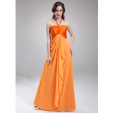 Empire Halter Floor-Length Chiffon Charmeuse Bridesmaid Dress With Ruffle (007018774)