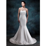Empire Sweetheart Court Train Satin Wedding Dress With Ruffle Lace Beadwork (002001161)