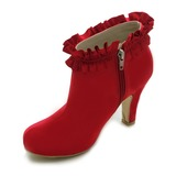 Satin Chunky Heel Closed Toe Platform Boots Wedding Shoes (047017794)