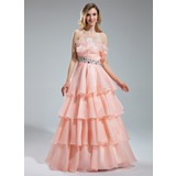 A-Line/Princess Scalloped Neck Floor-Length Organza Prom Dress With Beading Cascading Ruffles