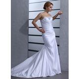 Mermaid Strapless Chapel Train Satin Wedding Dress With Ruffle Beadwork (002000433)