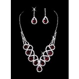 Luxurious Red Gem Necklace And Earring Set (011006984)