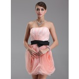 Sheath Strapless Short/Mini Organza Homecoming Dress With Ruffle Sash (022009145)