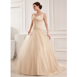 Ball-Gown V-neck Chapel Train Tulle Wedding Dress With Lace Beading