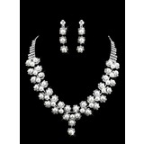 Gorgeous Alloy With Rhinestones/Imitation Pearls Wedding Bridal Necklace and Earrings Jewelry Set (011009885)