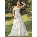 A-Line/Princess Sweetheart Court Train Charmeuse Wedding Dress With Ruffle Lace Beadwork Sequins (002011634)