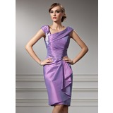 Sheath Off-the-Shoulder Knee-Length Taffeta Mother of the Bride Dress With Ruffle Appliques (008005949)