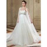 Empire Sweetheart Chapel Train Tulle Wedding Dress With Beading