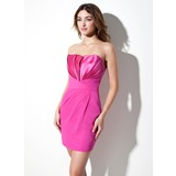 Sheath Scalloped Neck Short/Mini Chiffon Satin Cocktail Dress With Ruffle (016020951)