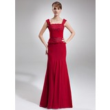 Mermaid Square Neckline Floor-Length Chiffon Lace Mother of the Bride Dress With Ruffle Beading (008006012)