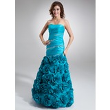 A-Line/Princess Floor-Length Taffeta Prom Dress With Ruffle Beading (018020805)