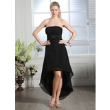 Empire Strapless Asymmetrical Chiffon Charmeuse Bridesmaid Dress With Ruffle (007005167)