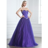 Ball-Gown Sweetheart Floor-Length Satin Tulle Quinceanera Dress With Beading (021020889)