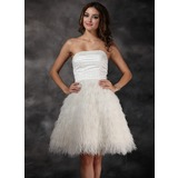 A-Line/Princess Strapless Knee-Length Satin Feather Cocktail Dress With Beading (016008426)