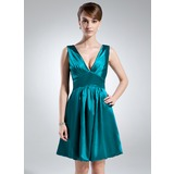 Empire V-neck Knee-Length Charmeuse Bridesmaid Dress With Ruffle (007021010)