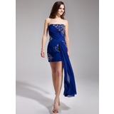 Sheath Strapless Short/Mini Chiffon Prom Dress With Ruffle Beading Sequins (018019193)