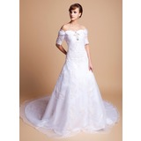 A-Line/Princess Off-the-Shoulder Cathedral Train Organza Satin Wedding Dress With Lace Beadwork (002011512)