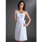 Sheath/Column One-Shoulder Knee-Length Chiffon Homecoming Dress With Ruffle Beading Bow(s)