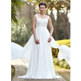 Empire Sweetheart Chapel Train Chiffon Satin Wedding Dress With Ruffle Beadwork Sequins (002011686)