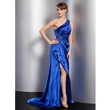 A-Line/Princess One-Shoulder Sweep Train Charmeuse Evening Dress With Ruffle Beading Split Front
