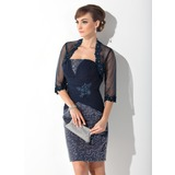 Sheath/Column Strapless Knee-Length Chiffon Mother of the Bride Dress With Ruffle Lace Beading Sequins
