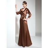 Sheath Strapless Floor-Length Charmeuse Mother of the Bride Dress With Ruffle Beading Flower(s) (008006146)