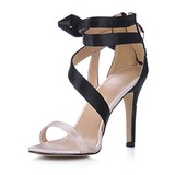 Silk Like Satin Stiletto Heel Slingbacks Sandals Wedding Shoes With Satin Flower (047015186)