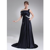 A-Line/Princess Off-the-Shoulder Court Train Charmeuse Prom Dress With Ruffle Appliques (018005100)