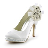 Women's Satin Cone Heel Closed Toe Platform Pumps With Imitation Pearl Rhinestone