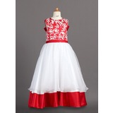 A-Line/Princess Floor-length Flower Girl Dress - Organza/Charmeuse Sleeveless Scoop Neck With Lace