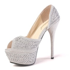 Funklende Glimmer Stoff Stiletto Hl Titte T Platform Pumps med Rhinestone (085016518)