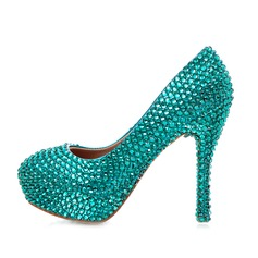 Women's Real Leather Stiletto Heel Closed Toe Platform Pumps With Rhinestone