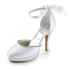 Satin Stiletto Heel Closed Toe Platform Pumps Wedding Shoes With Bowknot Rhinestone (047015209)