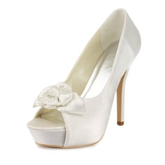 Satin Stiletto Heel Peep Toe Platform Pumps Wedding Shoes With Satin Flower (047011815)