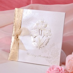 Floral Style Side Fold Invitation Cards With Ribbons (Set of 50)