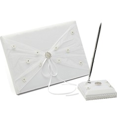 Chic Ribbons/Rhinestones/Bow/Flower Guestbook & Pen Set