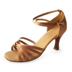 Satin Heels Sandals Latin Ballroom Dance Shoes With Ankle Strap (053006988)
