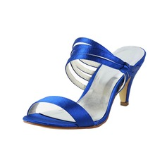 Women's Satin Cone Heel Peep Toe Slingbacks