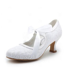 Satin Spool Heel Closed Toe Pumps Wedding Shoes With Ribbon Tie (047004932)