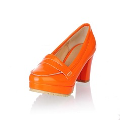 Patent Leather Chunky Heel Platform Pumps With Others (085025201)