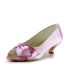 Satin Low Heel Peep Toe Pumps Wedding Shoes With Bowknot Rhinestone (047020118)