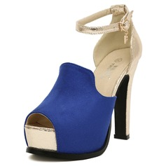 Leatherette Chunky Heel Peep Toe Pumps With Buckle (085025152)