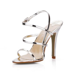 Patent Leather Stiletto Heel Slingbacks Sandals (087022637)
